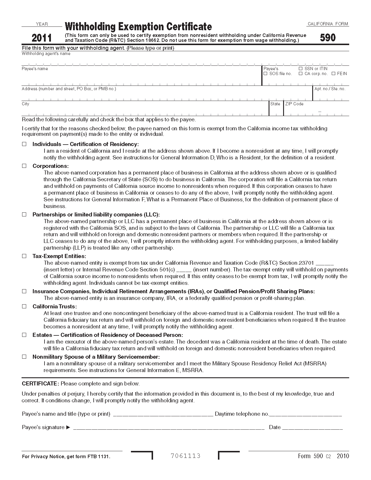 California Certificate Worksheet