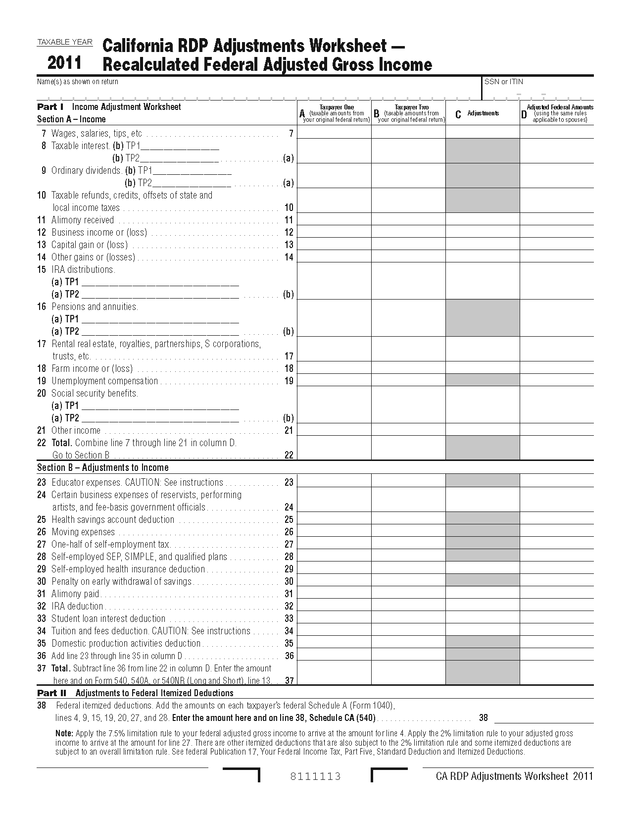 737 Worksheet Form California Registered Domestic Partners Adjustments Worksheet