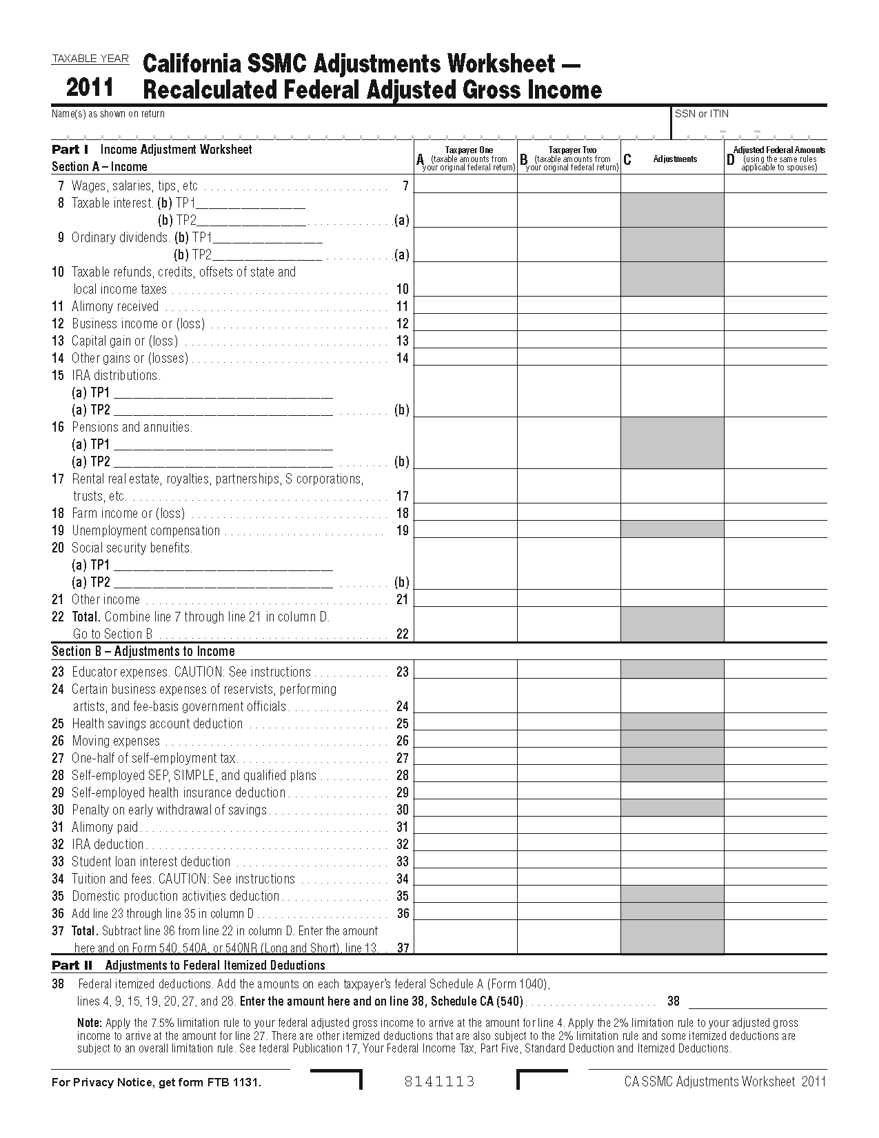 776 Worksheet Form California Same Married Couples Adjustments Worksheet