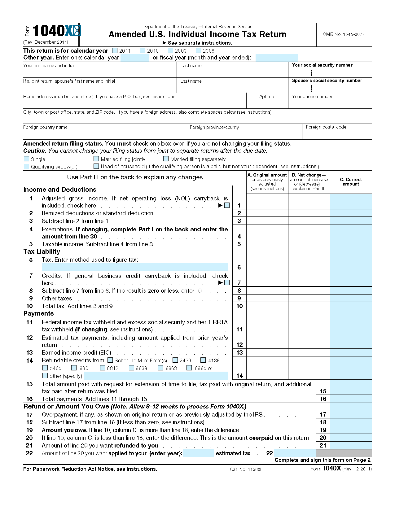 Form X Amended U S Individual Income Tax Return