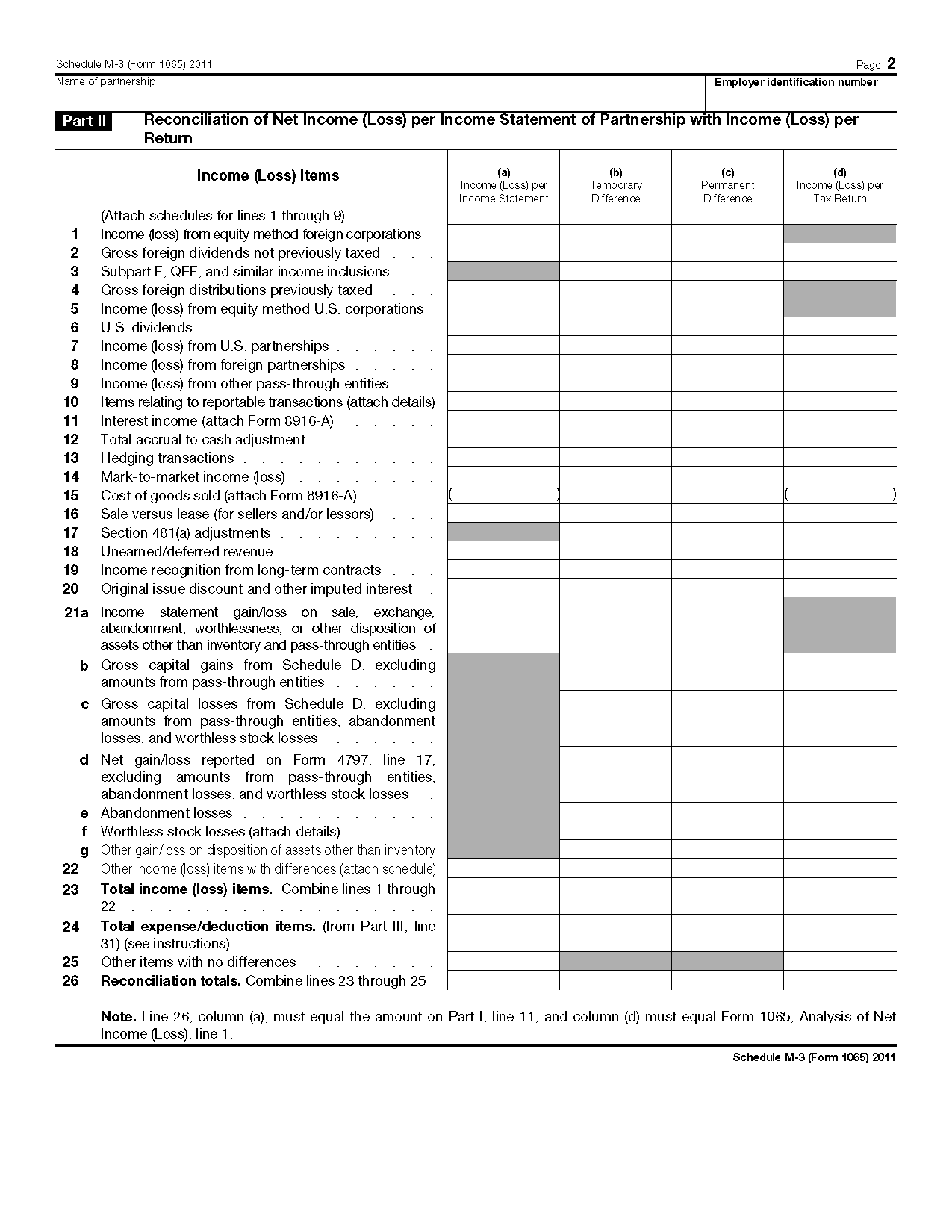 Form Schedule M 3 Net Income Loss Reconciliation For Certain Partnerships