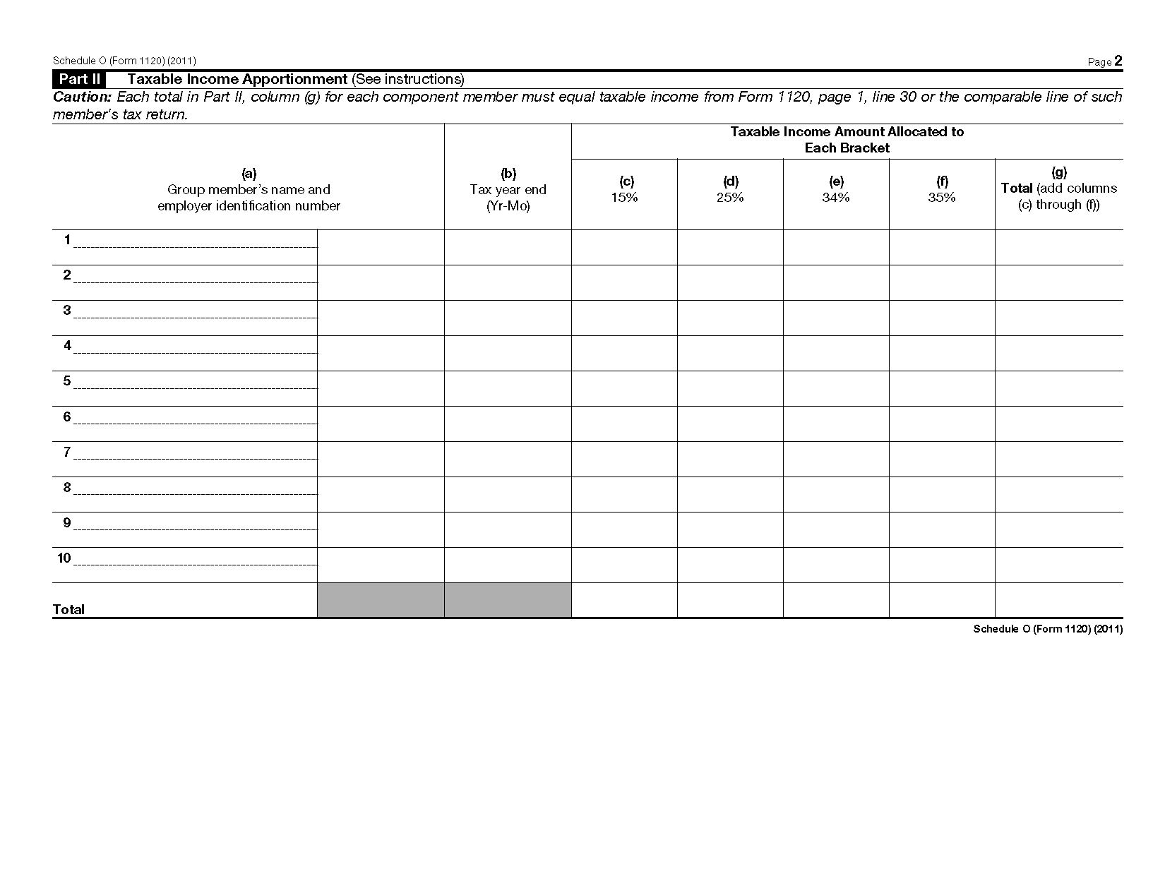 Form Schedule O Consent Plan And Apportionment Schedule For A Controlled Group
