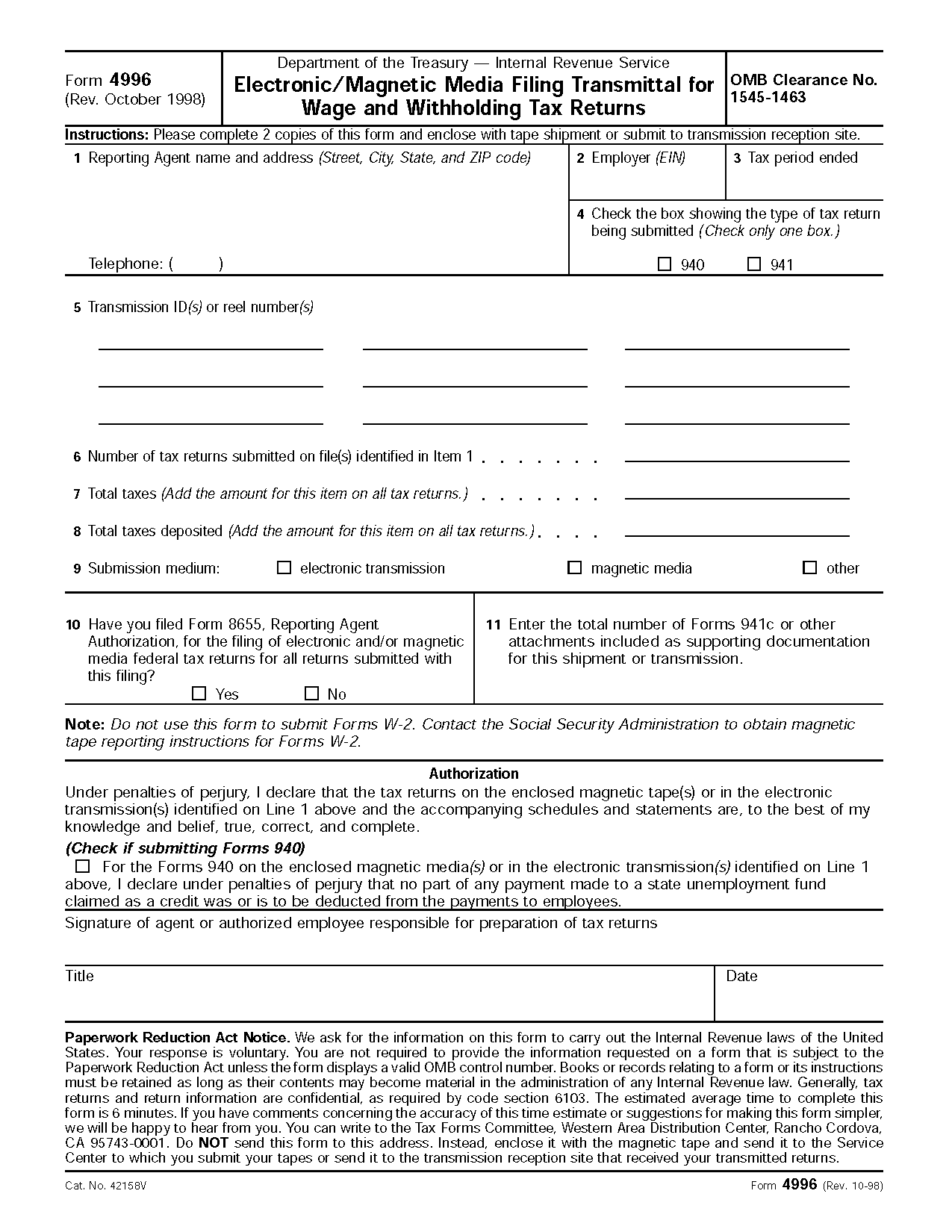 Form Electronic Magnetic Media Filing Transmittal For Wage And Withholding Tax Returns
