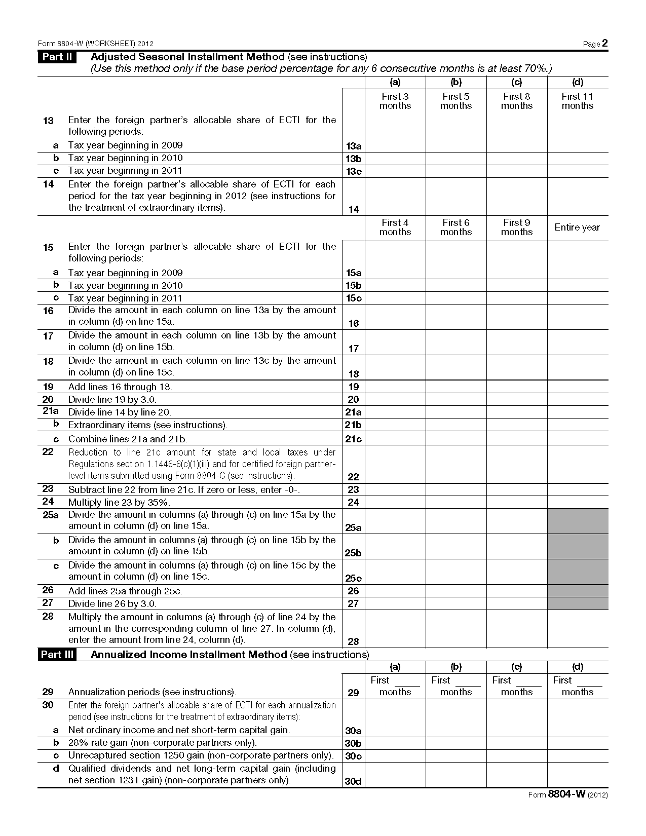 Form W Installment Payments Of Section Tax For Partnerships