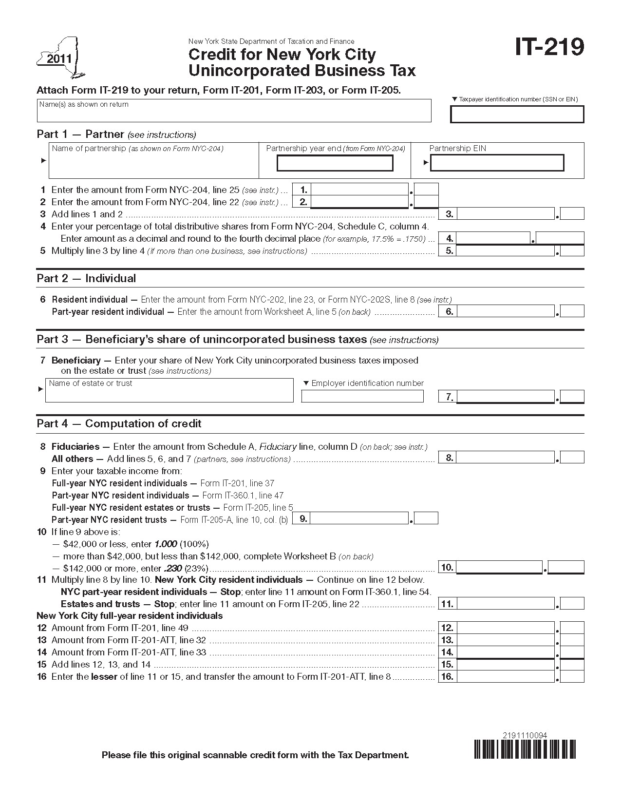 Form It 219 Fill In Credit For New York City