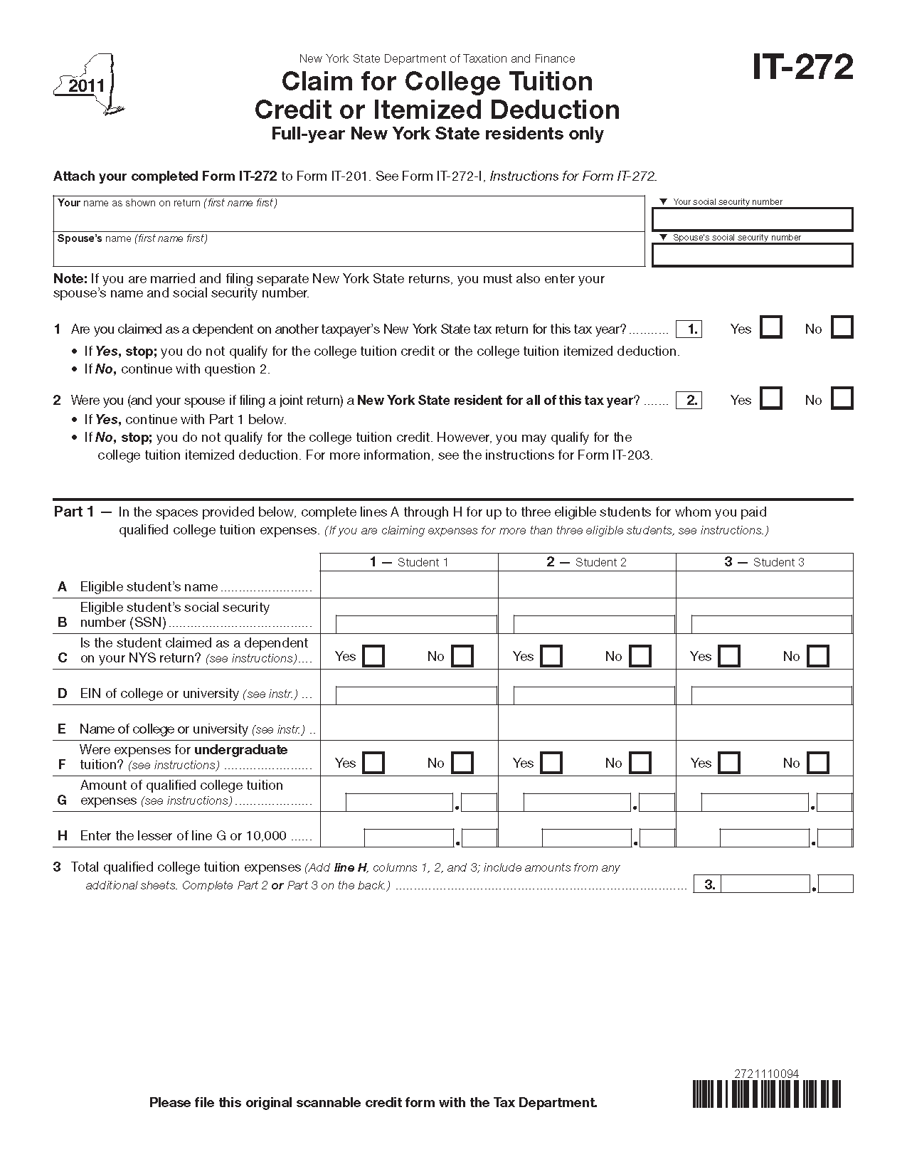 Form It 272 Fill In Claim For College Tuition Credit Or