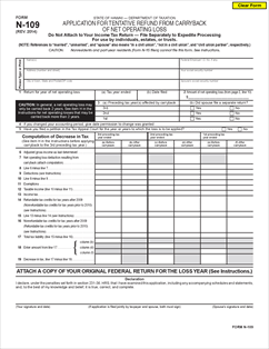 Form N 109 Fillable Application For Tentative Refund From