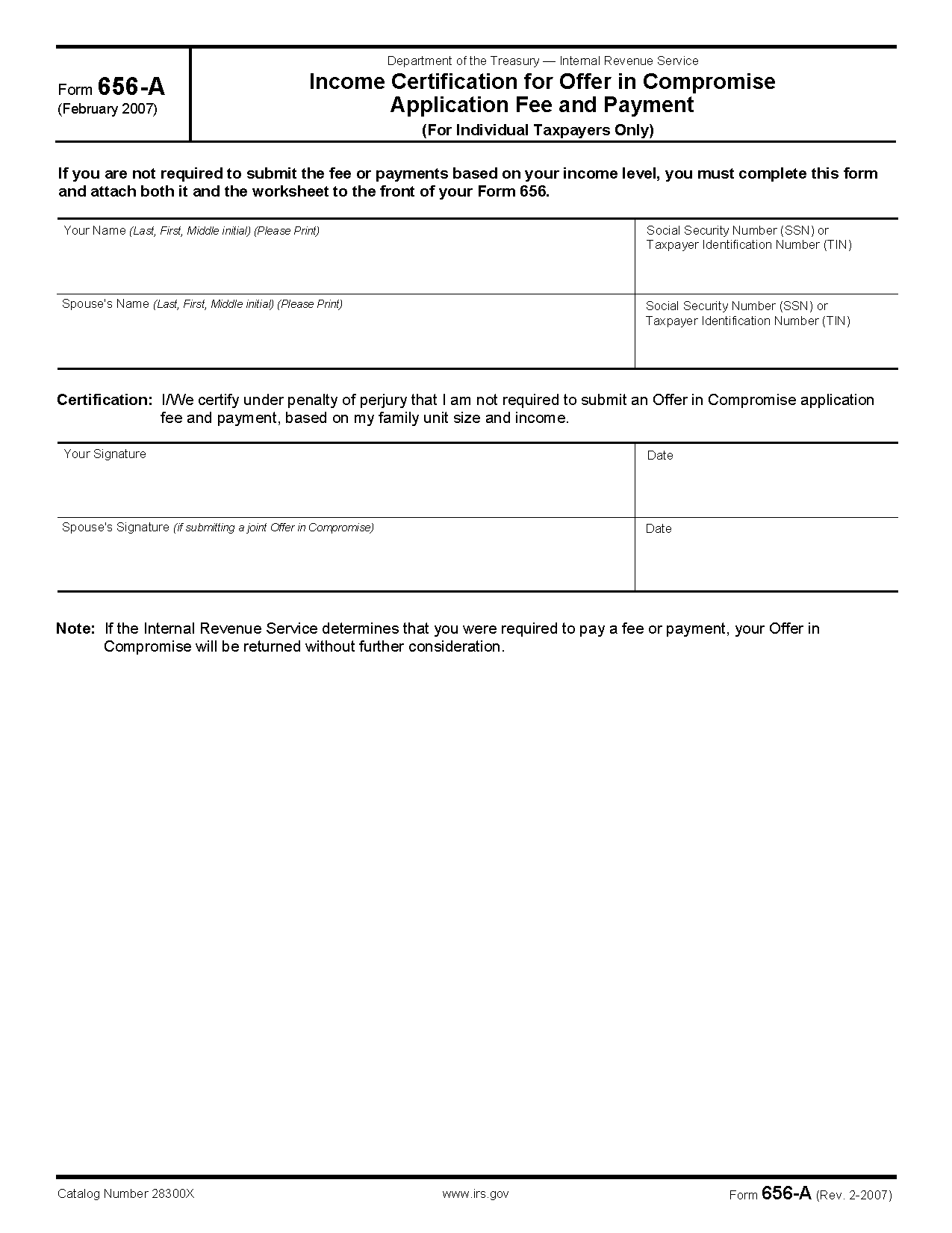 Form 656 A Income Certification For Offer In Compromise
