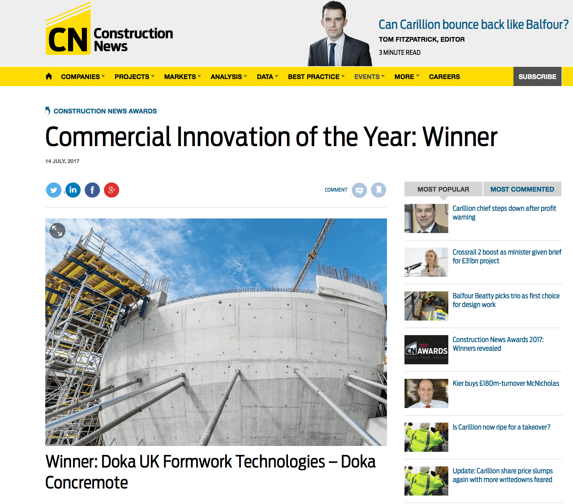 Winner: Doka UK Formwork Technologies – Doka Concremote