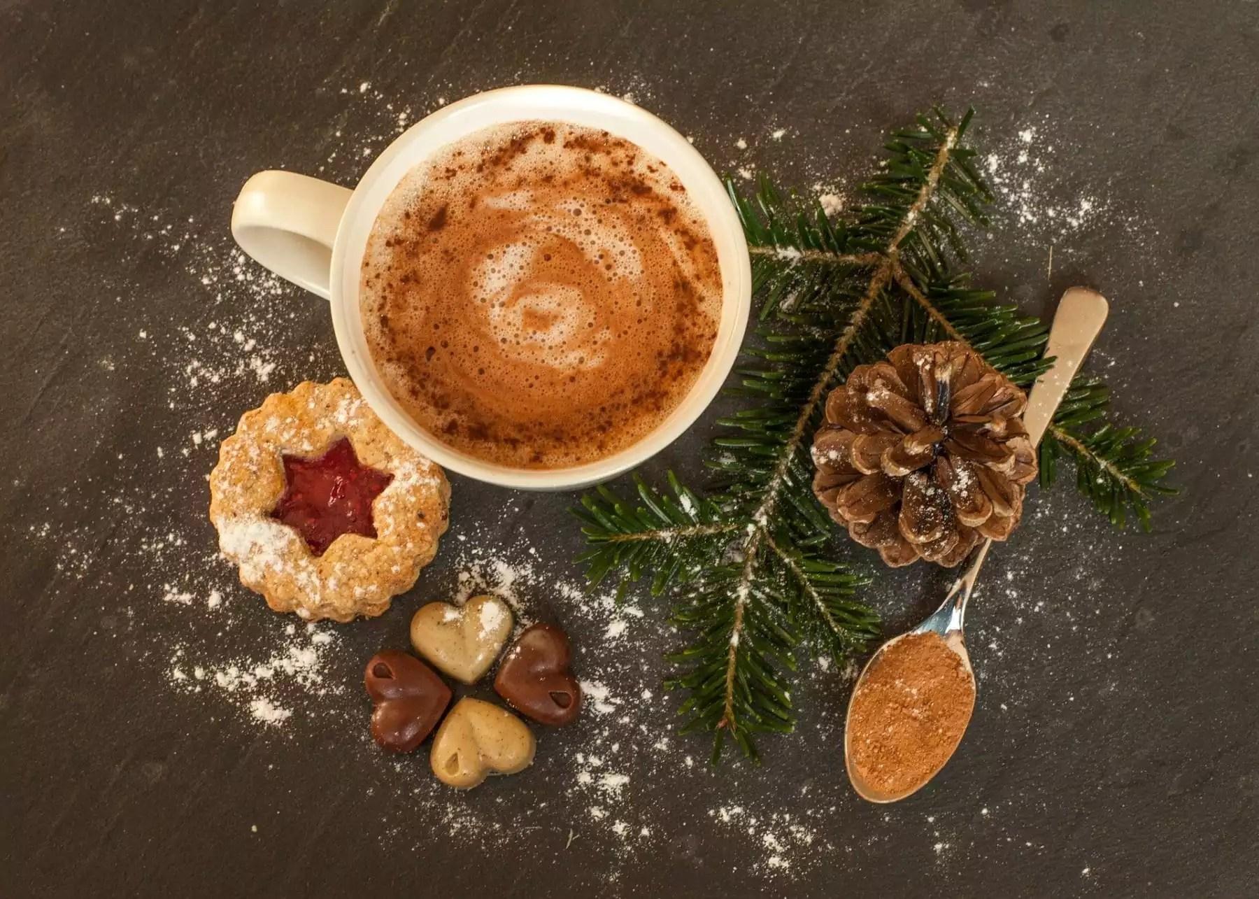 hot chocolate with festive treats