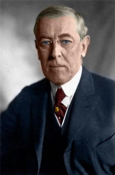 Woodrow Wilson, USA:s 28:e President. Färglagd av Förnuft