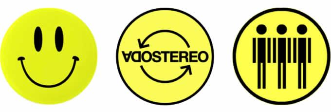 Soda Stereo. De izquierda a derecha: «Smiley» y último logo oficial de la banda utilizado durante la gira «Me verás volver» (2007).