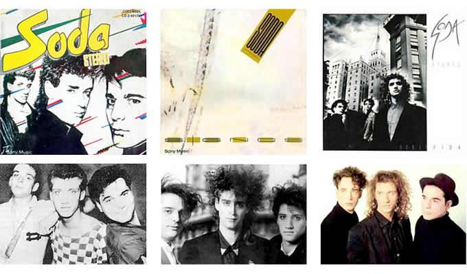 Soda Stereo. Un look para cada etapa, de izquierda a derecha: «Soda Stereo» (1984), «Signos» (1986), «Doble vida» (1988).