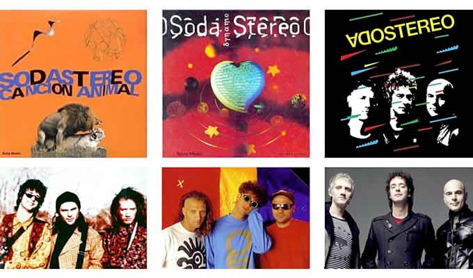Soda Stereo. Un look para cada etapa, de izquierda a derecha: «Canción animal» (1990), «Dynamo» (1992) y gira «Me verás volver» (2007).