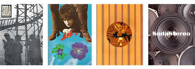 Soda Stereo. De izquierda a derecha, detalles de pressbooks: «Signos», «Canción animal», «Dynamo» y «Sueño Stereo».