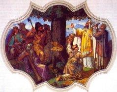 San Bonifacio manda derribar el árbol en el cual los paganos sacrificaban hombres y animales.