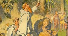 """En todas las imágenes el apóstol de Alemania aparece destruyendo el árbol ritual de donde se origina el actual """"árbol navideño""""-"""