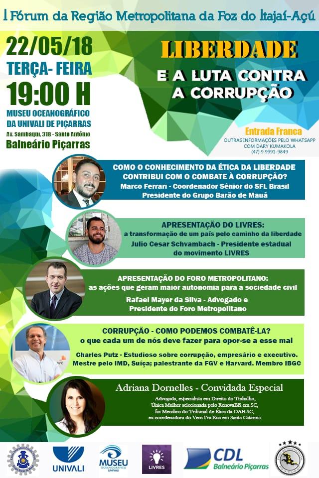 Convite: Evento Liberdade e luta contra a corrupção dia 23/03 em Piçarras