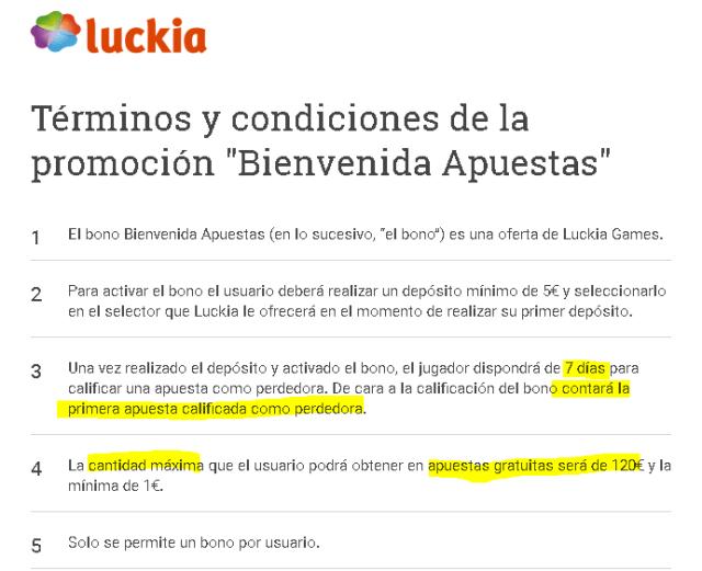luckia bono bienvenida sin riesgo sinriesgo falsa foronaranja