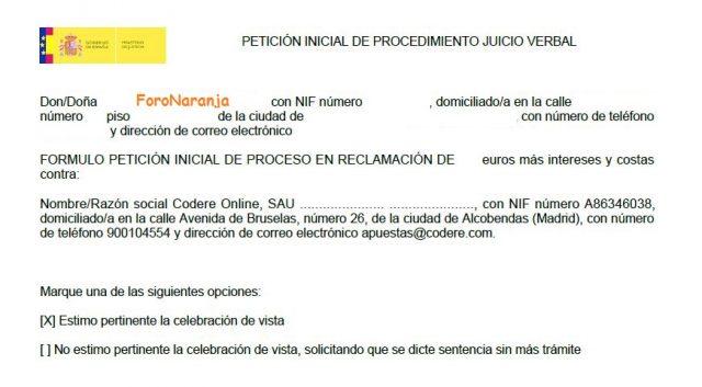 juicio verbal denuncia demanda sede judicial electronica gratis 2000 casa apuesta 99 foronaranja