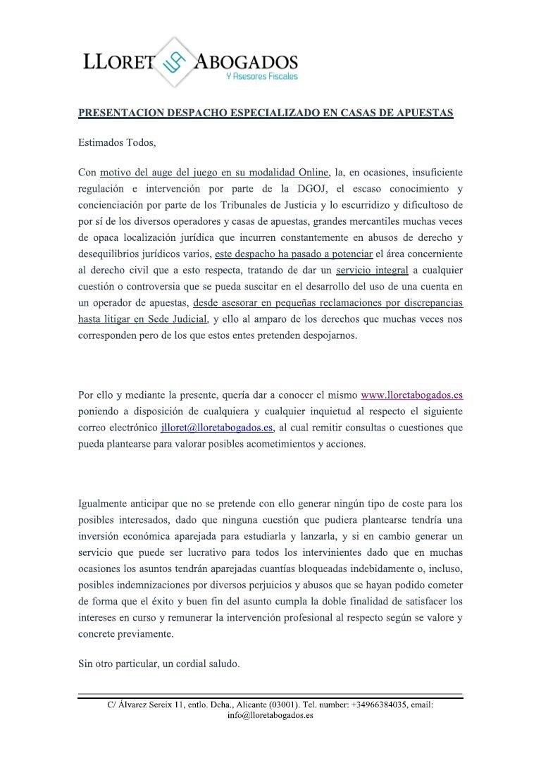 despacho abogados especializado casas apuestas juicio demandar denunciar 1 lloretabogados foronaranja