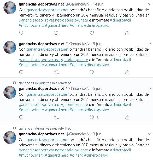 gananciasdeportivas.net estafa cuenta spam twitter foronaranja