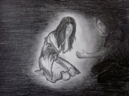 dibujo de niño sufriendo