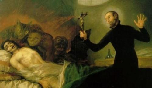 sacerdote exorcisando a mujer dibujo