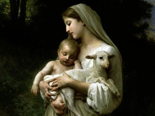 virgen maria, niño jesus y cordero en los brazos
