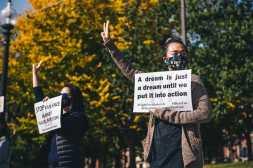 Pro democracy demonstration in Boston, USA