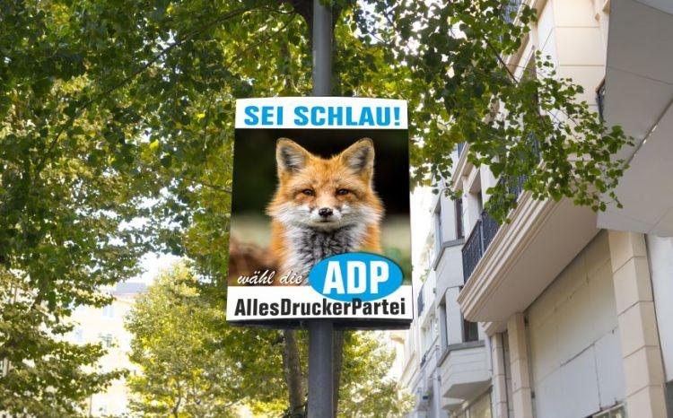 Bedrucktes Wahlplakat aus Polyposter
