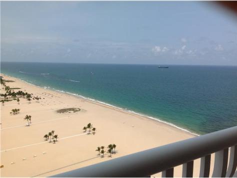 View of the beach and ocean from a Fort Lauderdale Oceanfront Condo
