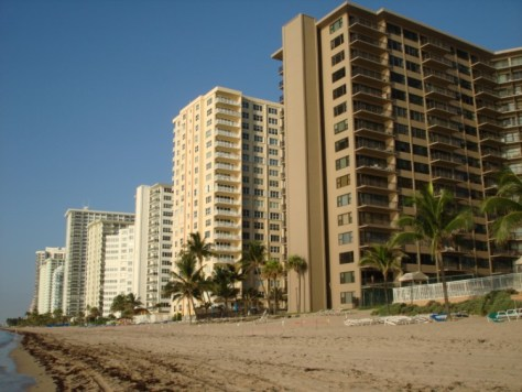 View of Galt Ocean Mile condos including Edgewater Arms from Fort Lauderdale Beach
