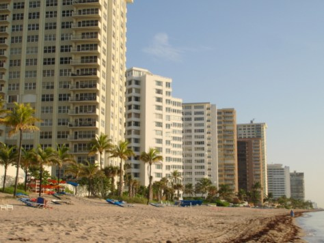 View of Galt Ocean Mile condominiums including Regency Tower from Fort Lauderdale Beach