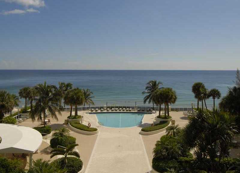 View of the pool and ocean from a luxury Fort Lauderdale condo in L'Ambiance