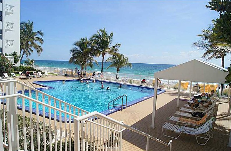 Pool views from Fort Lauderdale condo for sale Ocean Summit
