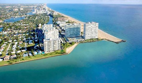 Oceanfront condos at entrance to Fort Lauderdale Harbor