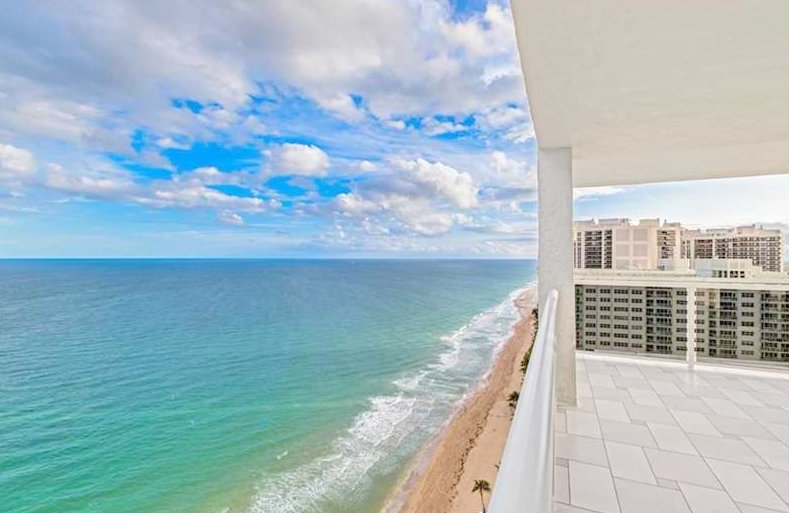 Ocean views from one of the Playa del Sol condos for sale in Fort Lauderdale