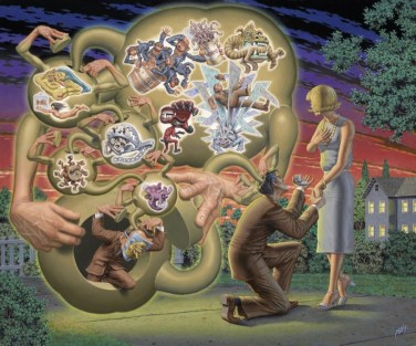 Robert Williams_The Fraught Proposal_2014_Oil on Canvas