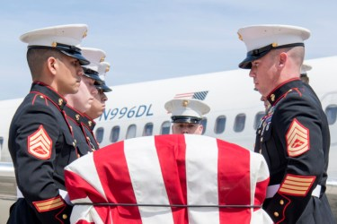 Marines from Detachment 1, Communications Company, Combat Logistics Regiment 45, 4th Marine Logistics Group, conduct a dignified transfer of Pvt. Fred Freet, 18, of Marion, Indiana, at the Indianapolis International Airport April 16, 2019. Freet was killed in action during World War II, and initially declared by the military as unrecoverable killed in action until Aug. 6, 2018 when the U.S. Navy positively identified his remains. (U.S. Air Force photo/Master Sgt. Ben Mota)