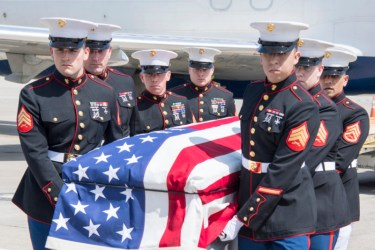 Marines from Detachment 1, Communications Company, Combat Logistics Regiment 45, 4th Marine Logistics Group, conduct a dignified transfer of Pvt. Fred Freet, 18, of Marion, Indiana, at the Indianapolis International Airport April 16, 2019. Freet was killed in action during World War II, and initially declared by the military as unrecoverable, killed in action until Aug. 6, 2018 when the U.S. Navy positively identified his remains. (U.S. Air Force photo/Master Sgt. Ben Mota)