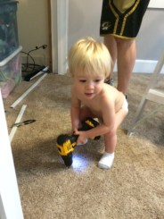 """Levi """"helping"""" daddy with Lexi's closet."""