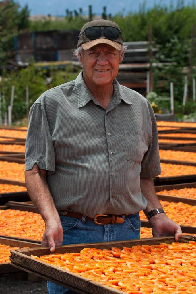 Andy with drying apricots