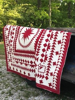 red and white quilt, medallion quilt, flying geese quilt, paper pieced quilt