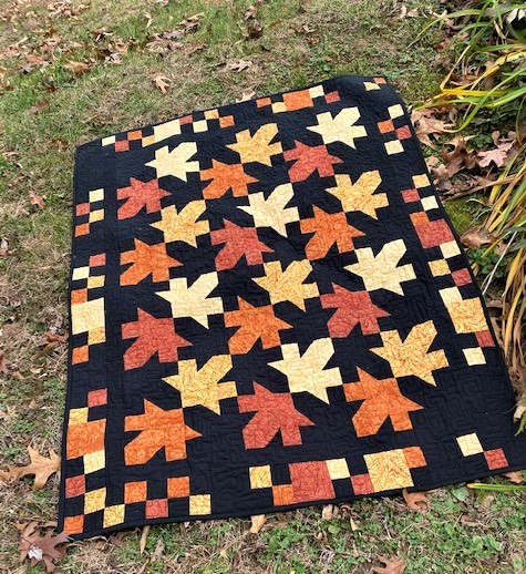 patchwork leaves quilt
