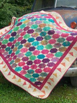 island batik fabric hexi type quilt