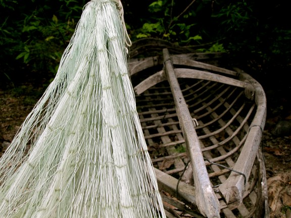 Traditional Net and Canoe at the Native American Heritage Center