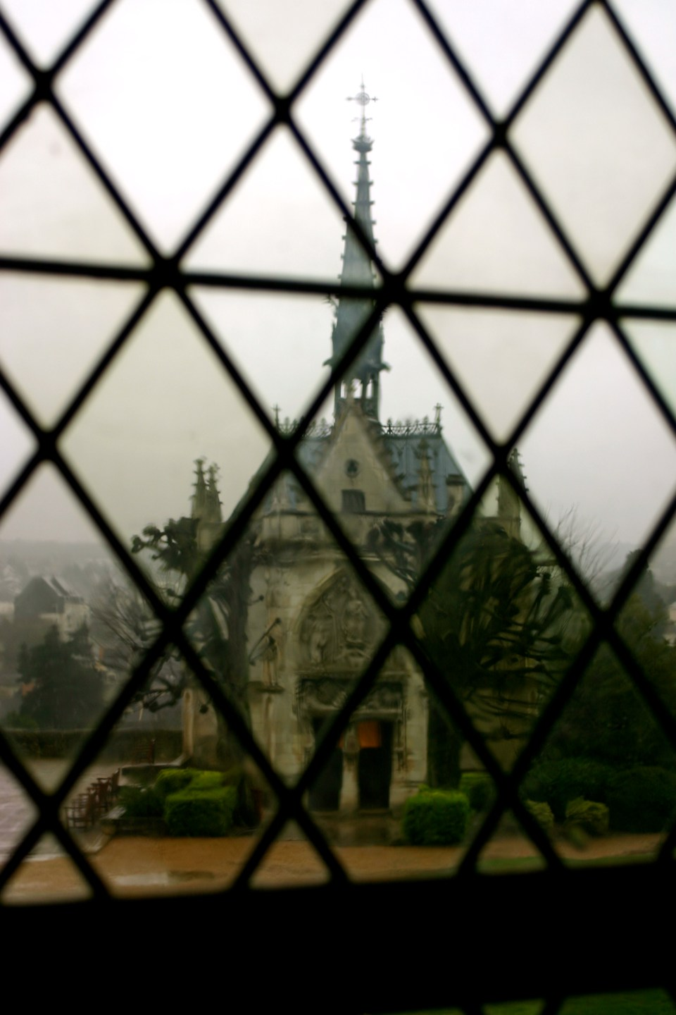 A View of Chapel du Saint-Hubert from inside Chateau Amboise.