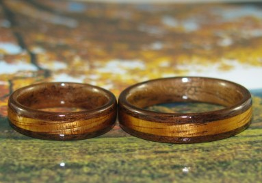 Black Walnut and Golden Hawaiian Koa wedding bands