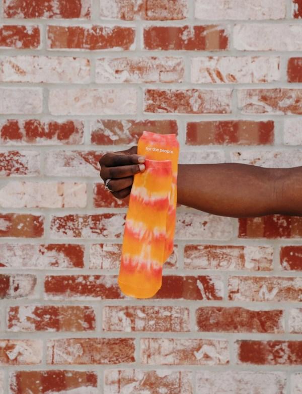 women's shibori socks, flamingo orange tye dye